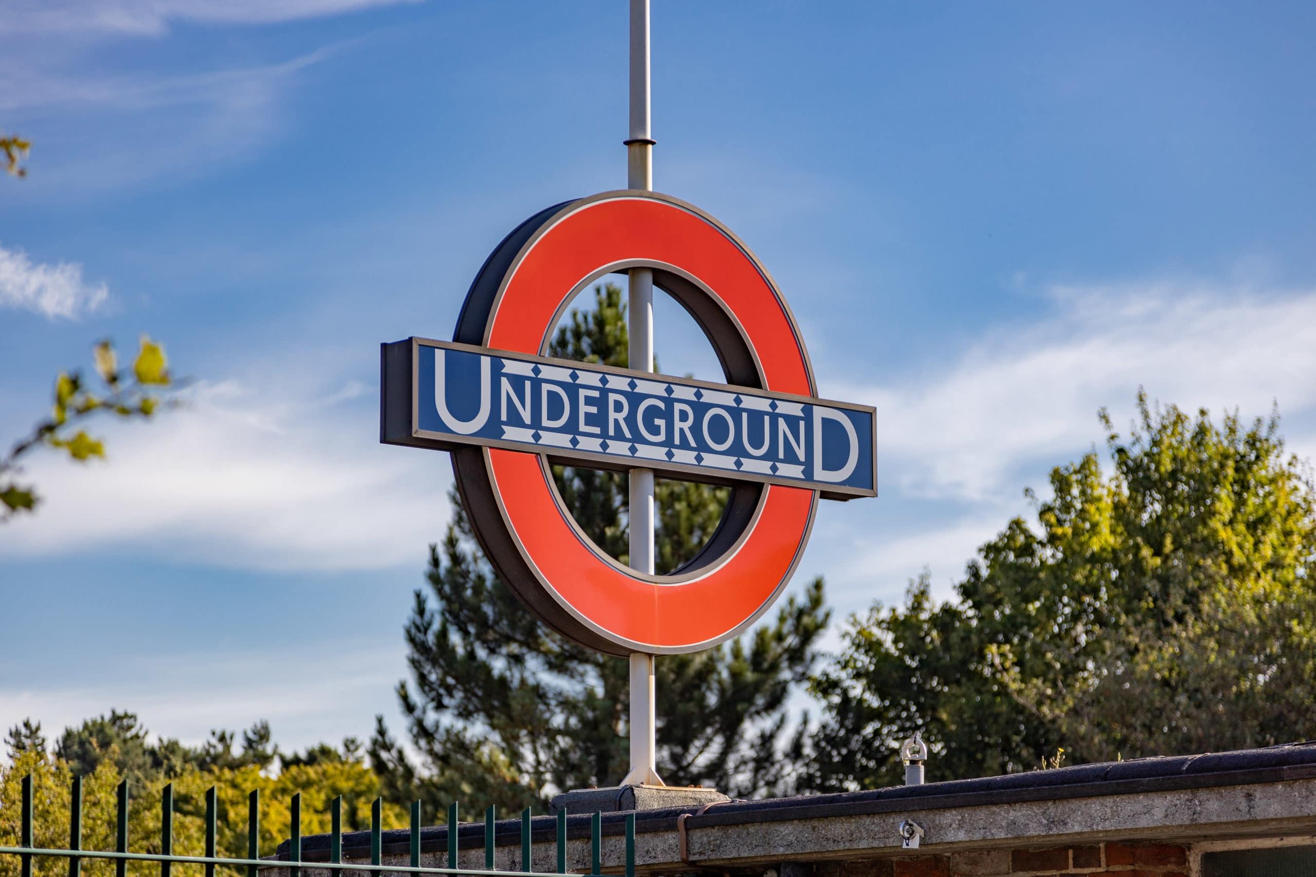 Oakwood tube station Underground sign, a short walk from Trent Park