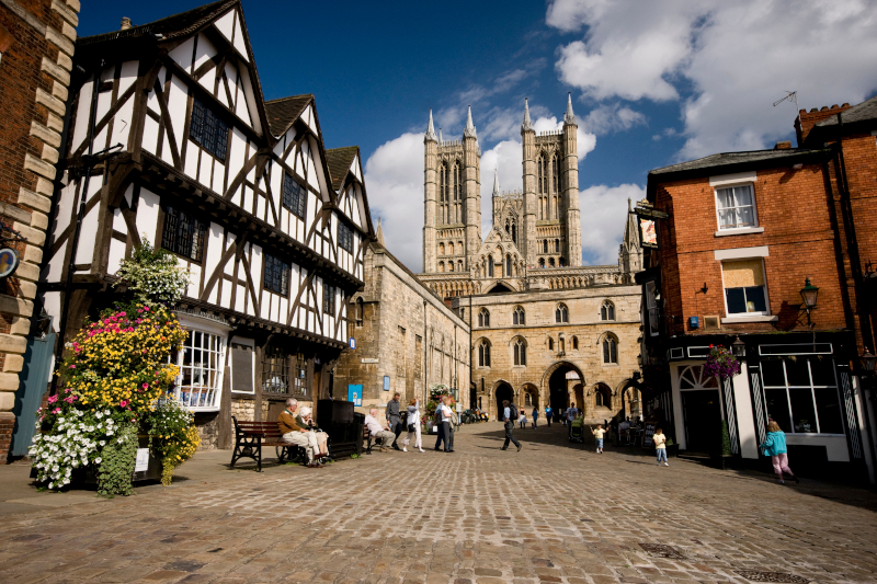 A view of the Cathedral from Castle Square, Lincoln, Lincolnshire