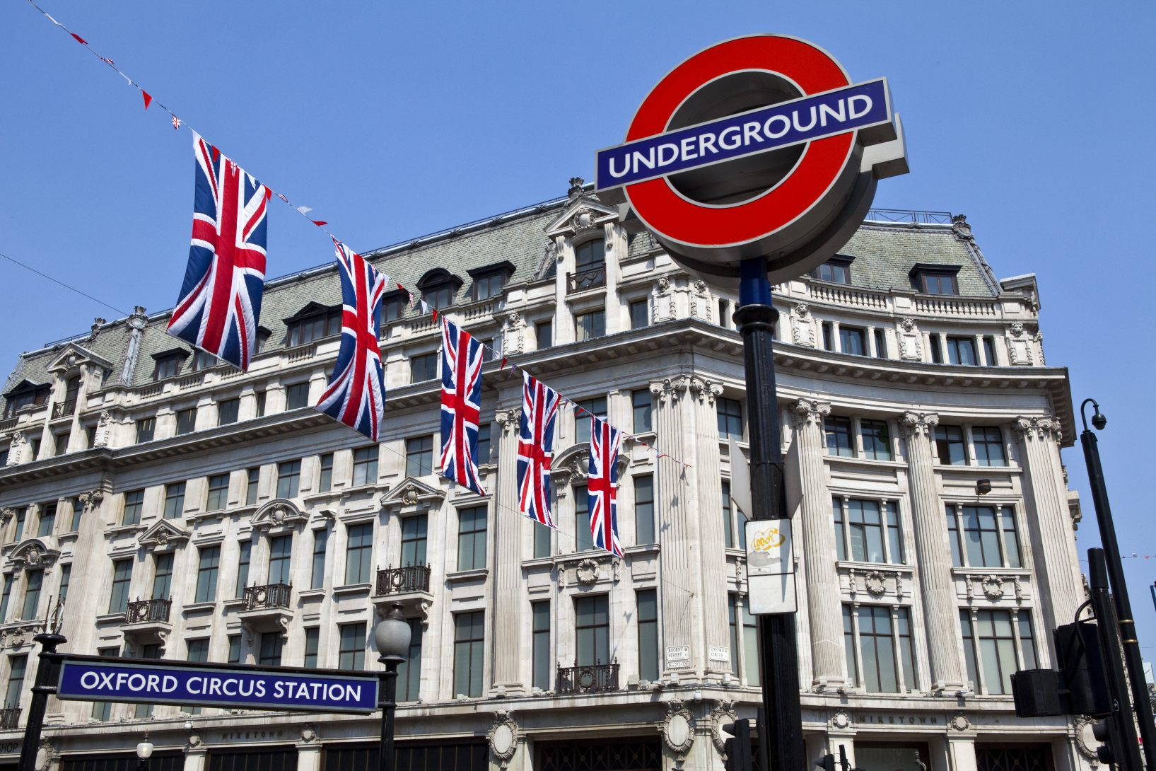 Oxford Circus, London Underground Station, Central London. West End Station displaying Union Flags.